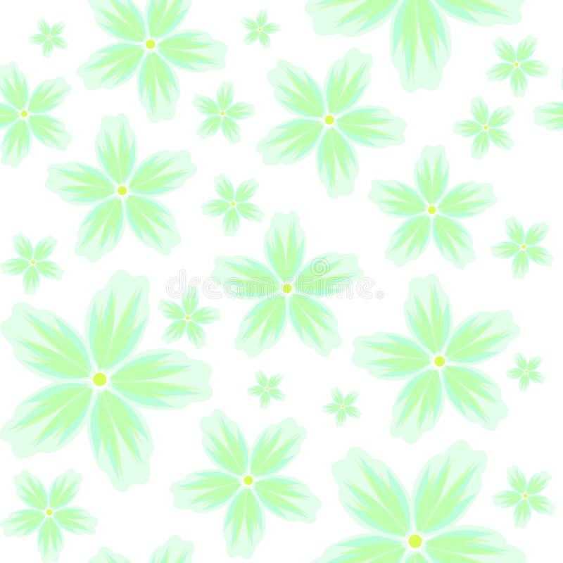 Vector seamless floral background with a pattern of large and small green flowers in pastel colors on a white background. Vector seamless floral background with stock illustration