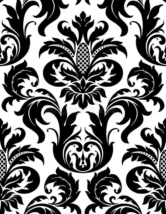 Vector seamless floral damask pattern stock illustration
