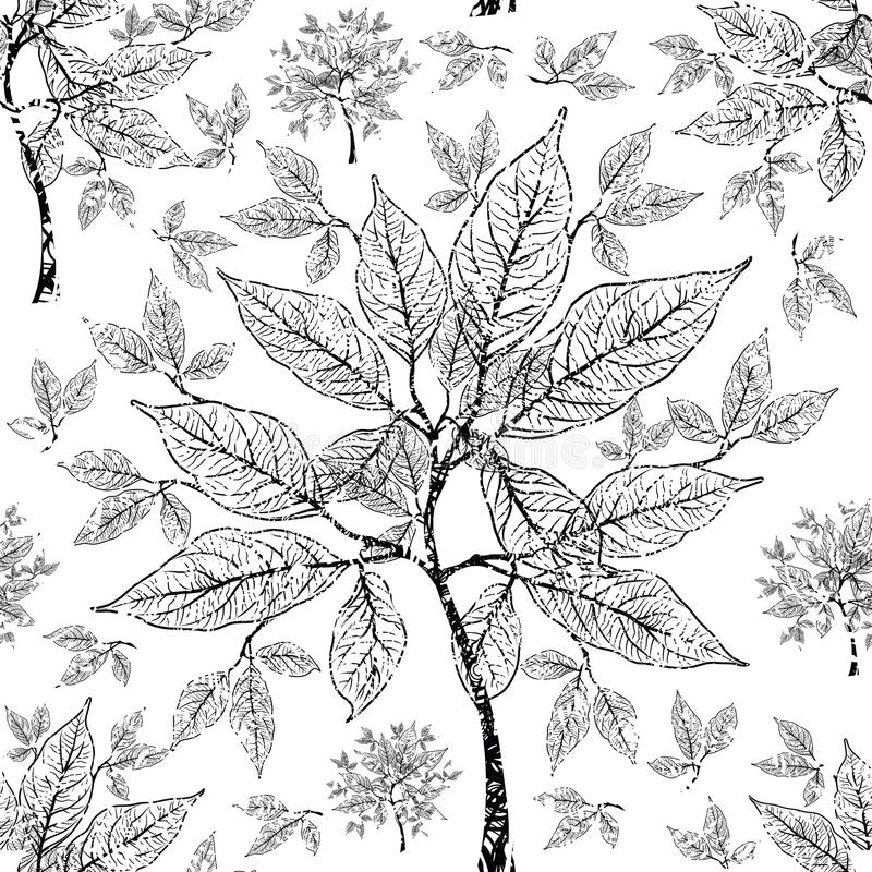 Vector seamless floral grunge pattern. With tree leafs royalty free illustration
