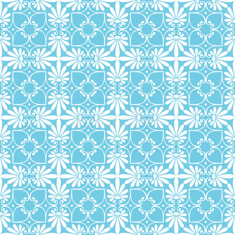 Vector seamless floral ornament. Seamless cute blue Greek floral pattern, endless texture for wallpaper or scrap booking royalty free illustration