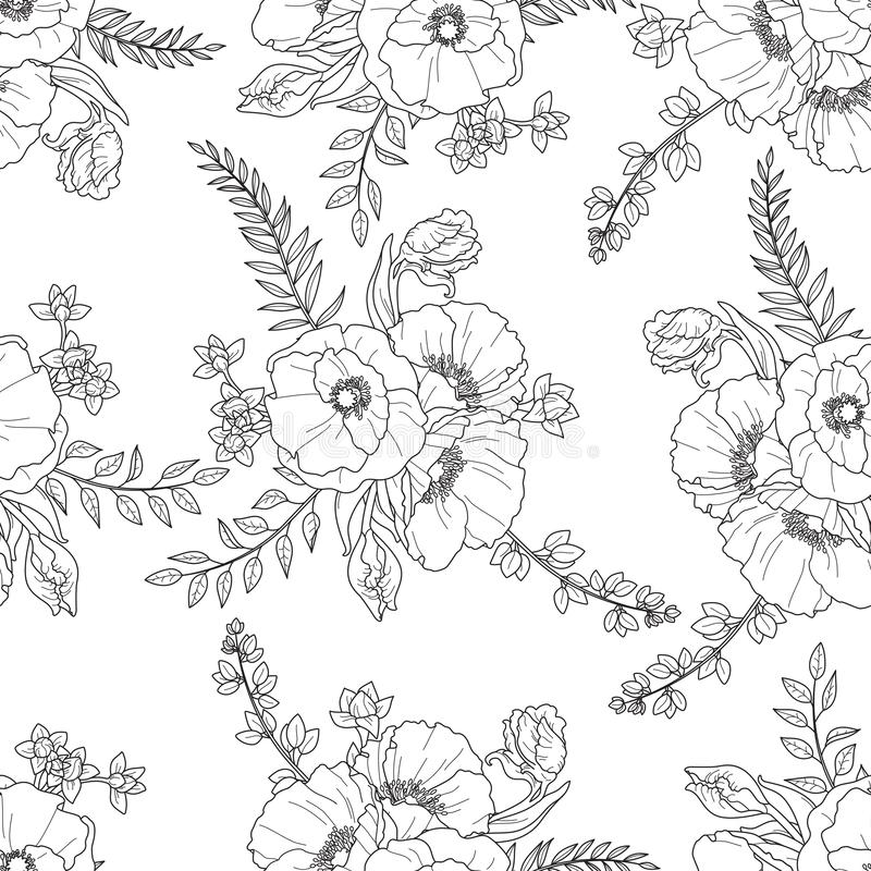 Vector seamless floral pattern with black outline bouquets royalty free stock photo
