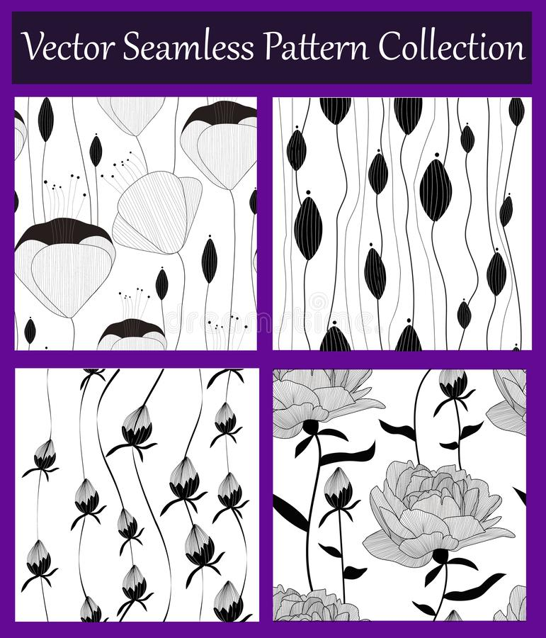 Vector seamless floral pattern collection,set. Hand drawn monochrome flowers and buds. Botanical design. royalty free illustration