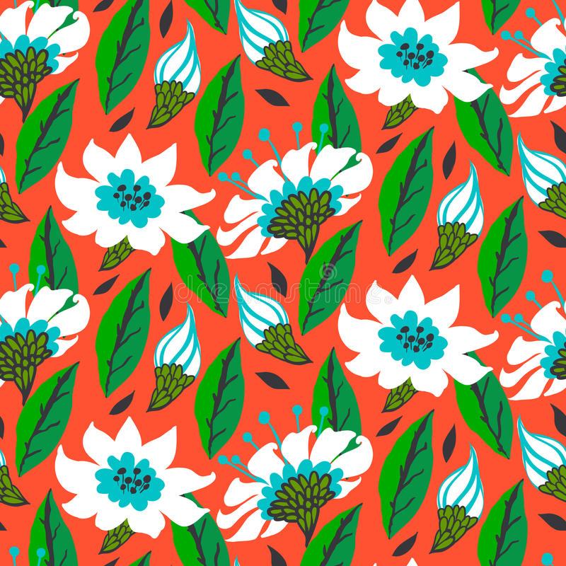 Vector seamless floral pattern with daisy flowers royalty free illustration