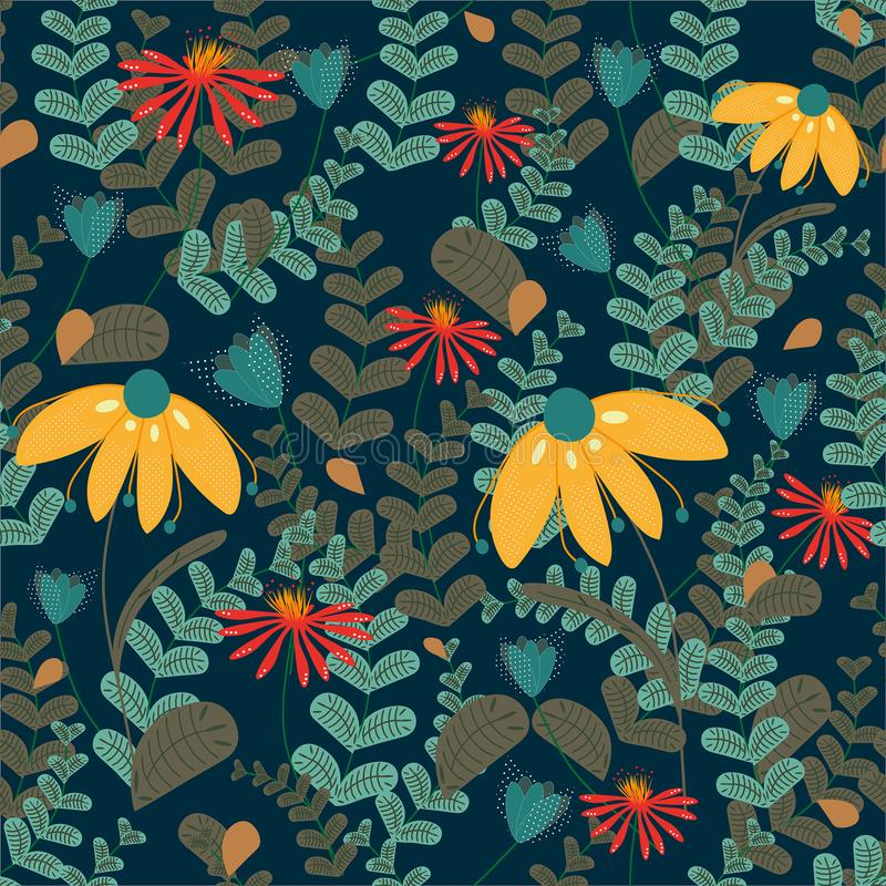 Vector seamless floral pattern on dark coloured background. Leaves and flowers pattern stock illustration