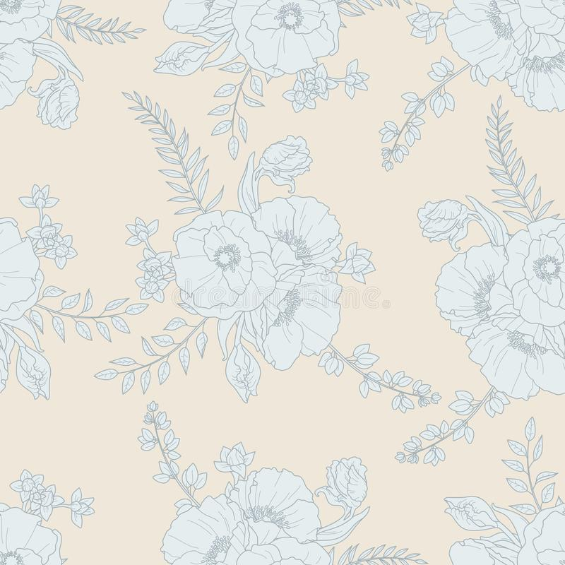 Vector seamless floral pattern in grey and cream colour stock photography