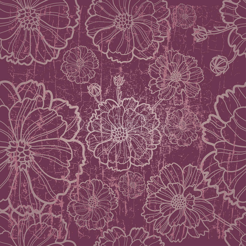 Vector seamless floral pattern with herbarium royalty free illustration