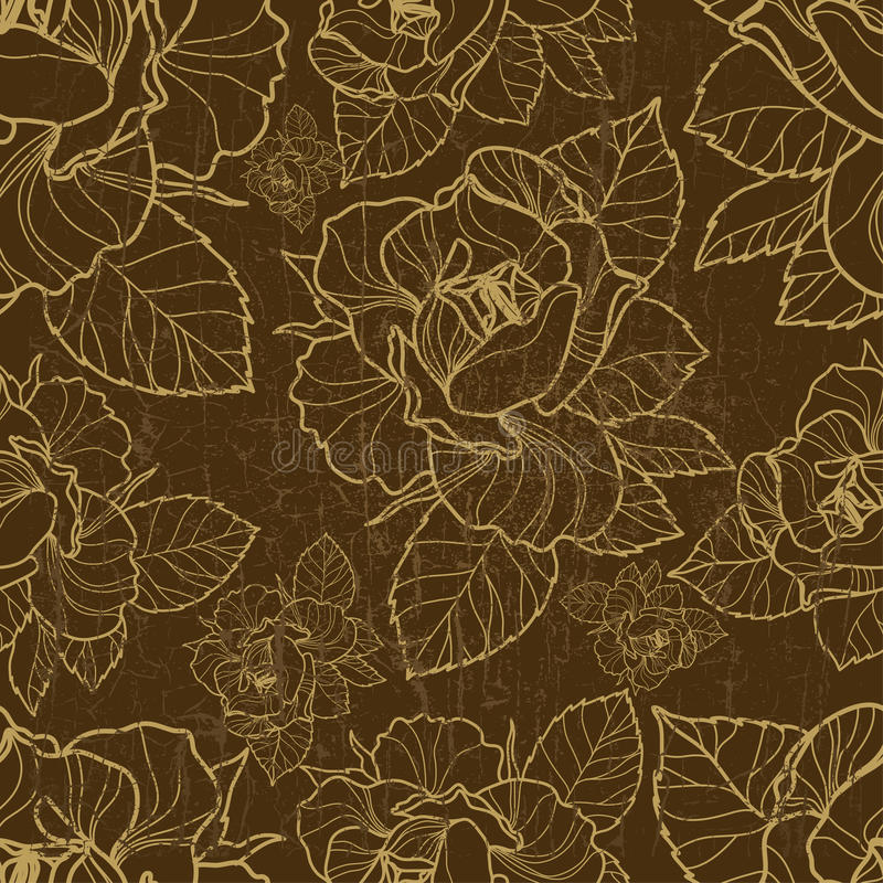 Vector seamless floral pattern with herbarium stock illustration
