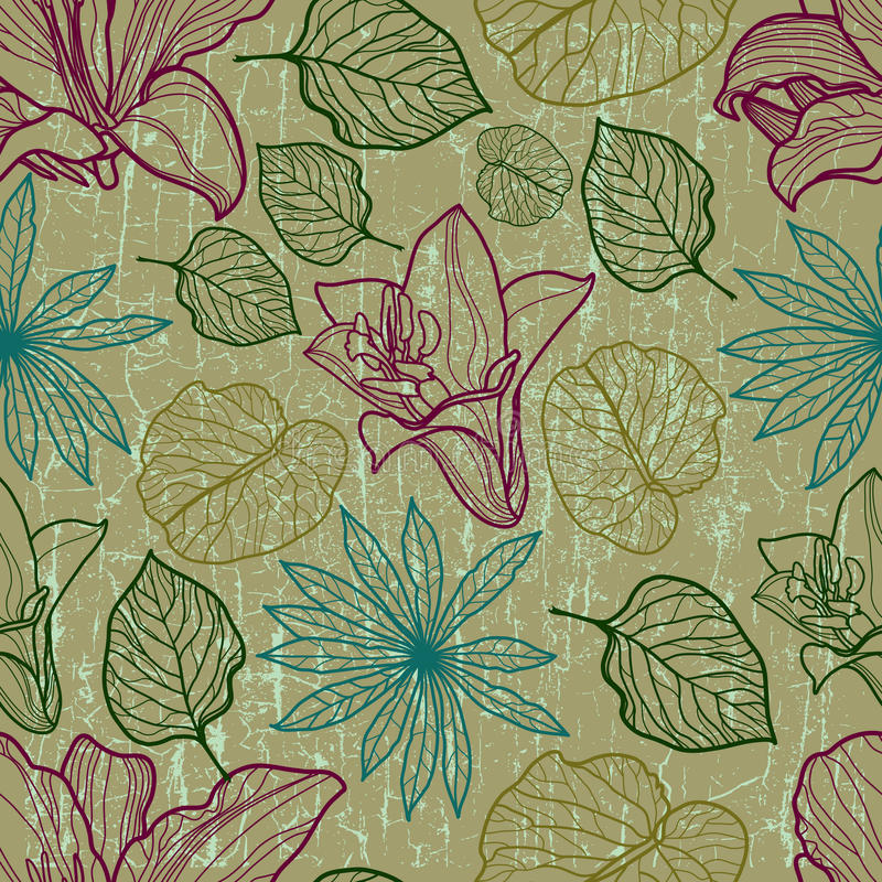 Vector seamless floral pattern with herbarium vector illustration