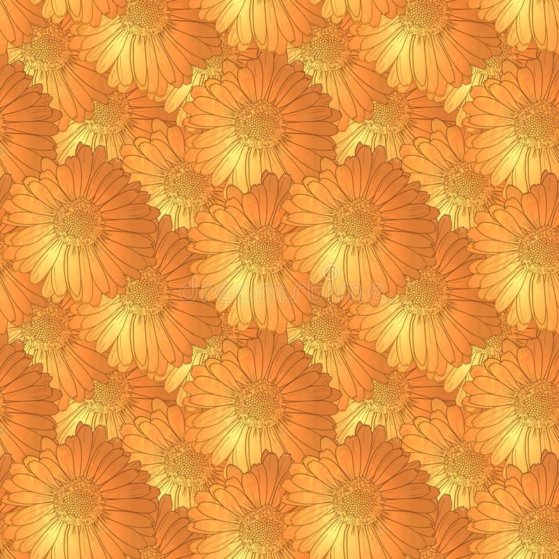 Vector Seamless Floral Pattern, Orange Background Template with Flower Heads, Summer, Spring. vector illustration