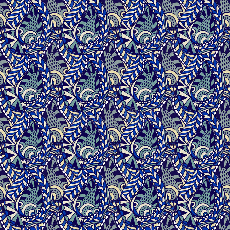 Vector seamless floral pattern with paisley lace. Abstract blue background. royalty free illustration