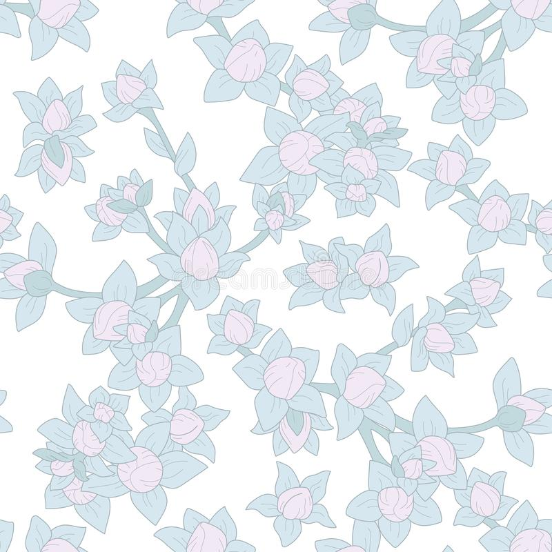 Vector seamless floral pattern with pink berries royalty free stock photos