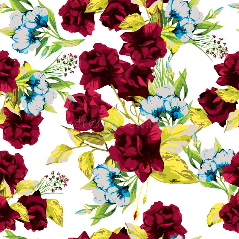 Vector seamless floral pattern with red roses on white background stock illustration