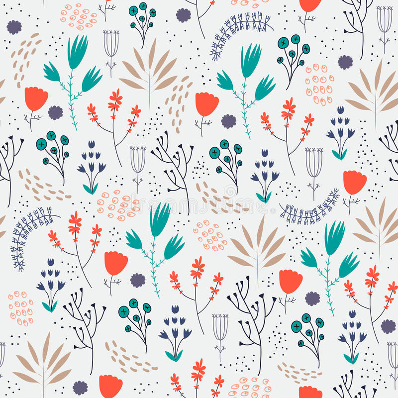 Vector seamless floral pattern. Romantic cute royalty free illustration