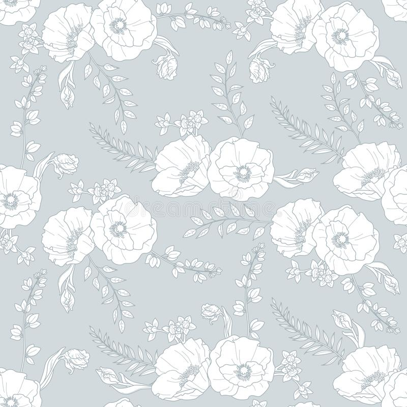 Vector seamless floral pattern with white bouquets on the grey background stock images
