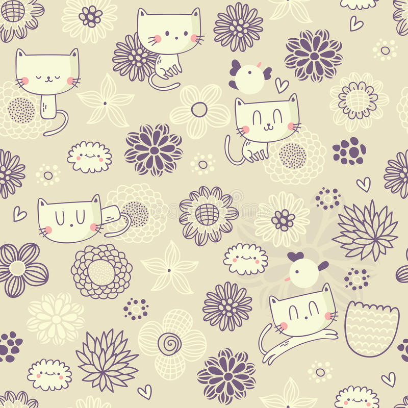 Free Vector Seamless Floral Pattern With Funny Cats And Birds Stock Photo - 34700380