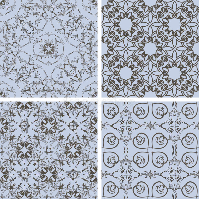 Vector seamless floral patterns in blue and brown royalty free illustration