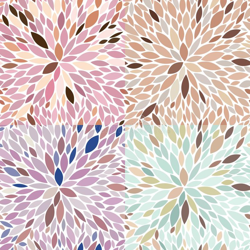Vector Seamless Floral Patterns In Muted Colors stock photography