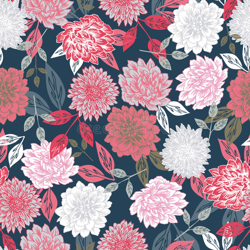 Vector seamless floral print background stock images