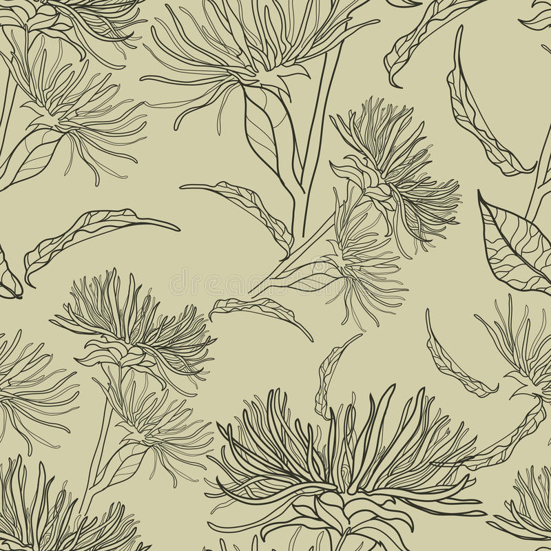 Vector seamless floral vintage pattern vector illustration