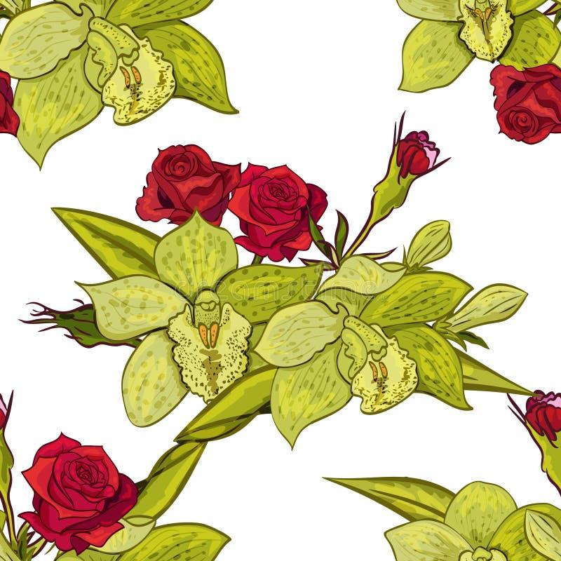 Vector seamless flower pattern royalty free illustration