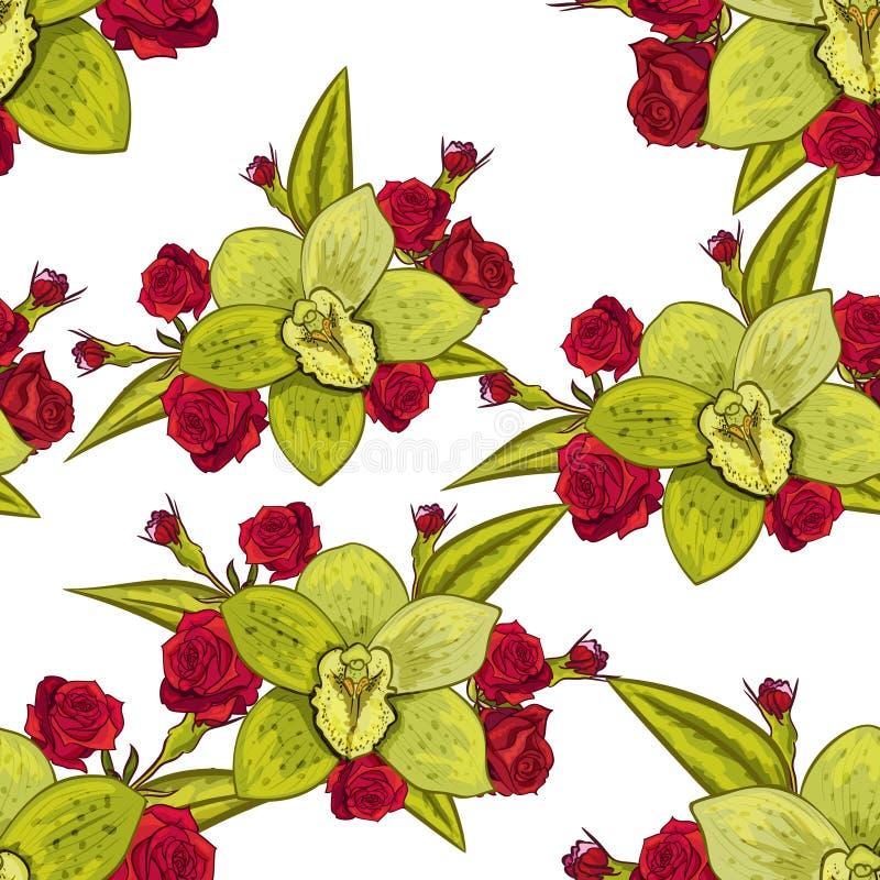 Vector seamless flower pattern stock illustration
