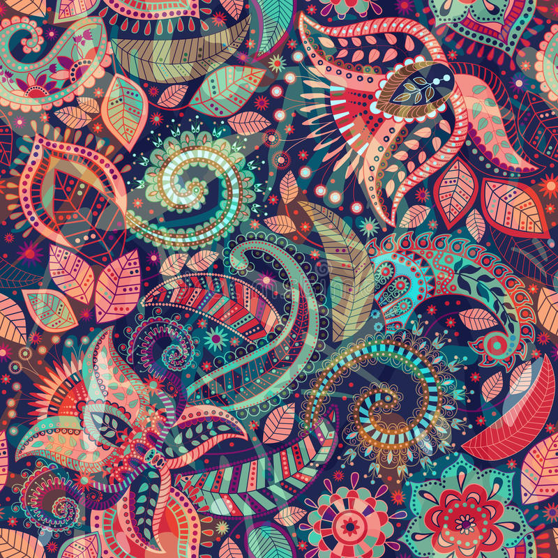 Free Vector Seamless Flowers Pattern. Paisley Ornament. Indian Decorative Wallpaper Stock Photo - 87490420