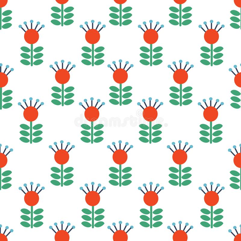Vector Seamless folk art pattern background with flowers, Scandinavian or Nordic Red repetitive floral design. Retro royalty free illustration
