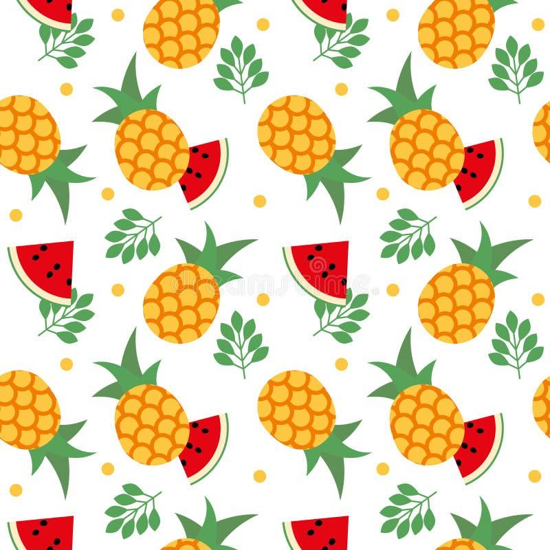Vector seamless fruit pattern pineapple and watermelon stock illustration