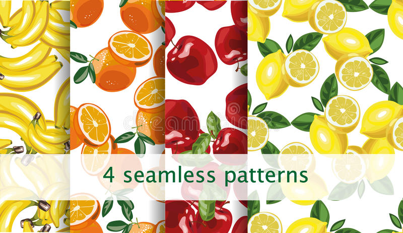 Vector seamless fruit pattern set. Repeating fruit pattern. Package, website design. Vector seamless fruit pattern set. Vector 10 eps file royalty free illustration