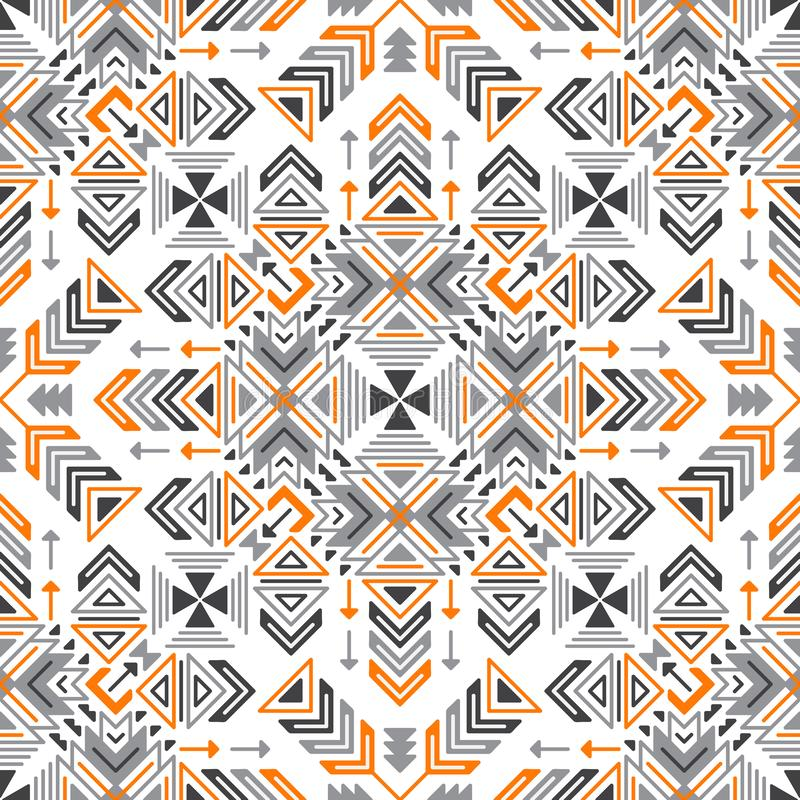 Vector Seamless Geometric Tribal Ethnic Pattern vector illustration