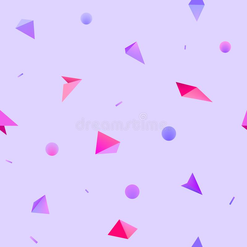 Vector seamless geometric 3d shapes pattern. Hipster fashion Memphis style background. Lilac, purple, pink stock illustration