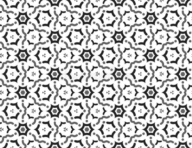 Vector seamless geometric pattern. black and grey wavy lines, shapes, white background vector illustration