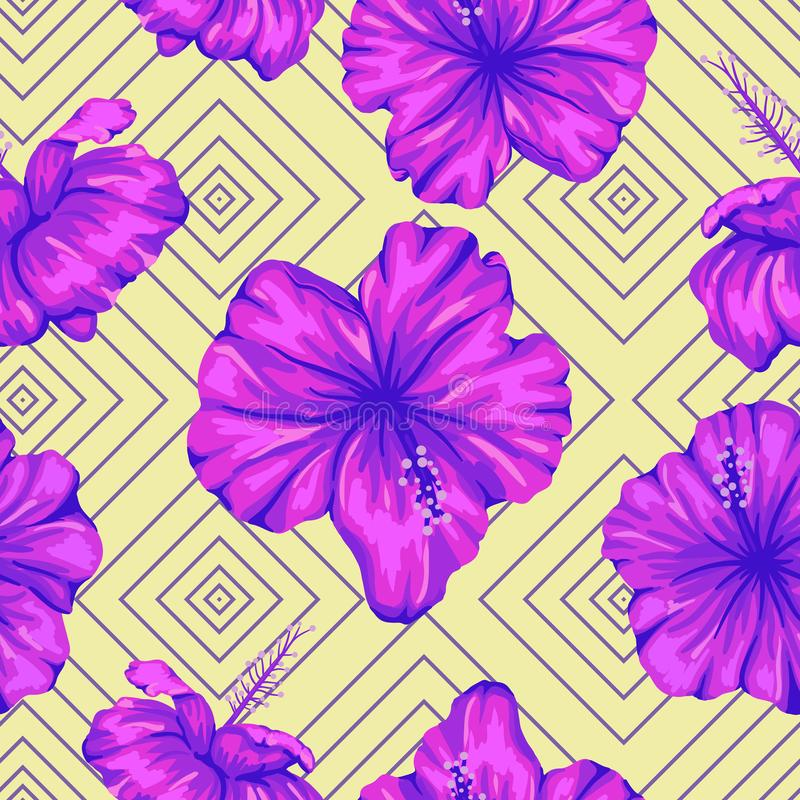 Vector seamless geometric pattern with bright purple hibiscus flowers on yellow background stock illustration