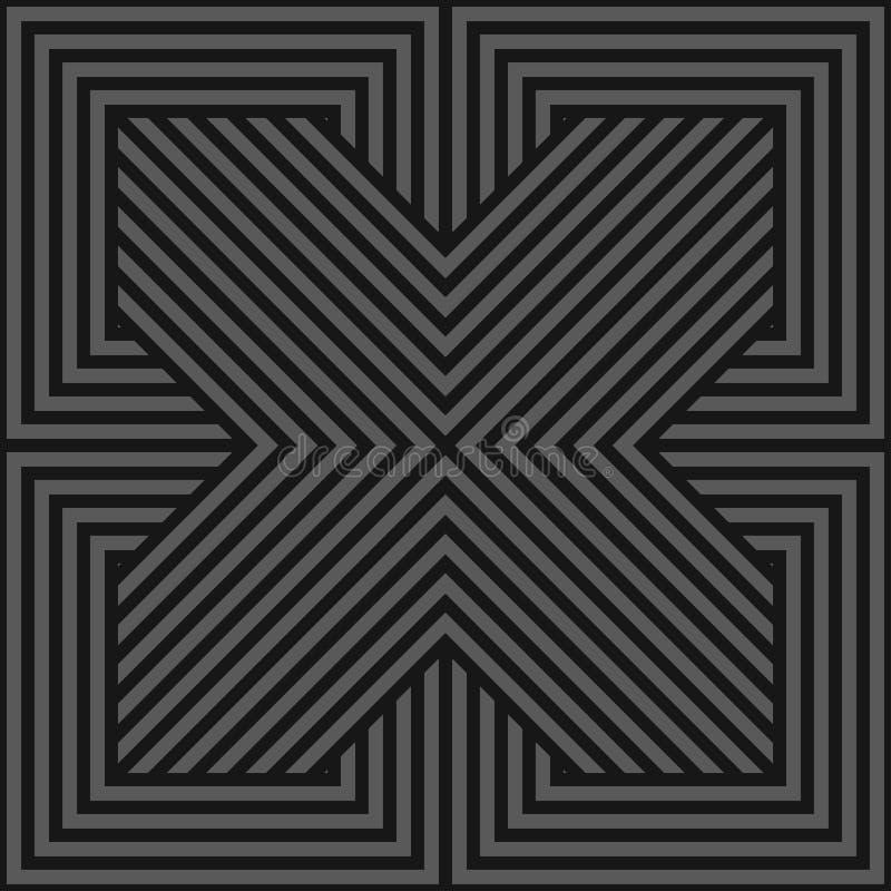 Vector seamless geometric pattern - dark gray striped texture. Endless linear background. Monochrome design vector illustration