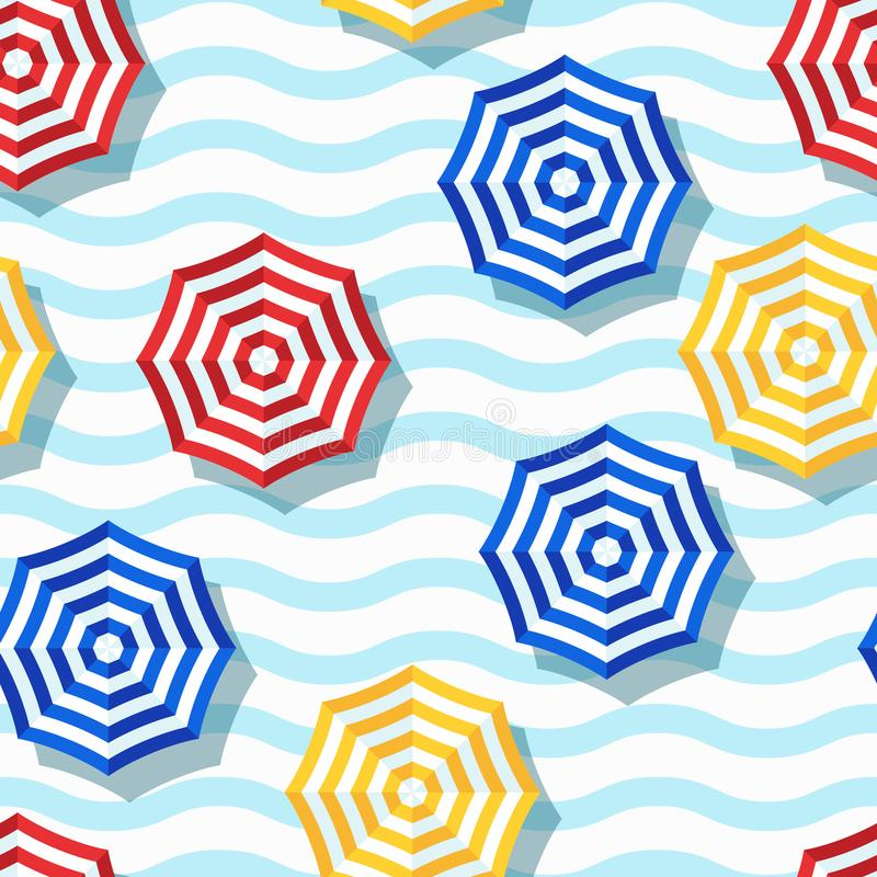Vector seamless geometric pattern. Flat 3d style beach umbrella and wavy striped background. royalty free illustration