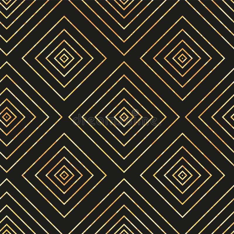 Vector seamless geometric pattern with golden diamond on black background stock illustration