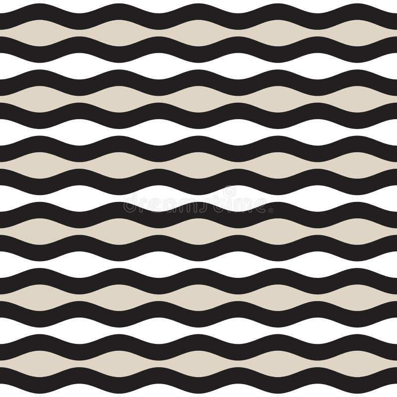 Vector Seamless Geometric Pattern. Monochrome Wavy Lines. Elegant Ripple Stripes royalty free illustration