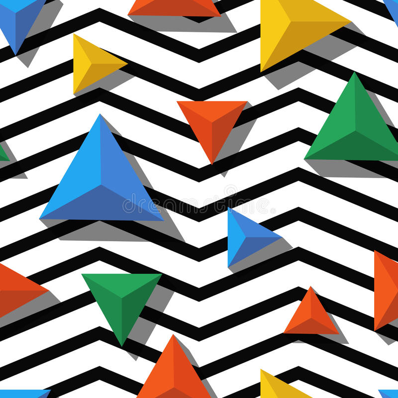 Vector seamless geometric pattern. Multicolor triangles and black, white zigzag background vector illustration