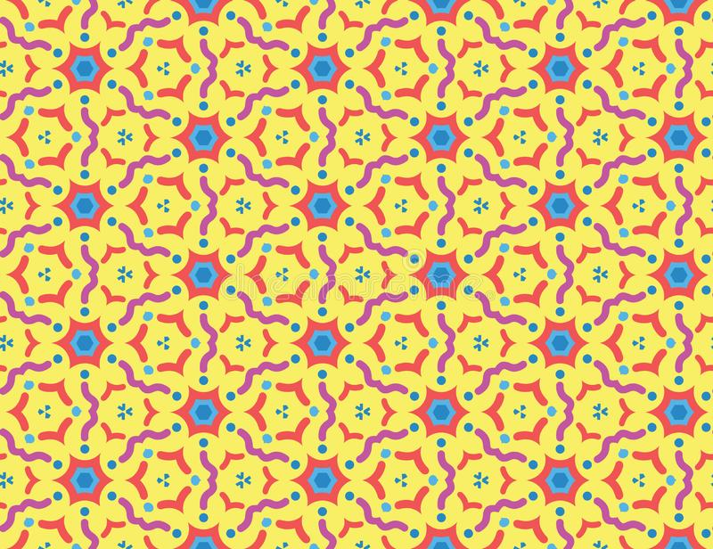 Vector seamless geometric pattern. Purple, red, light, dark blue wavy lines, shapes on yellow background stock illustration