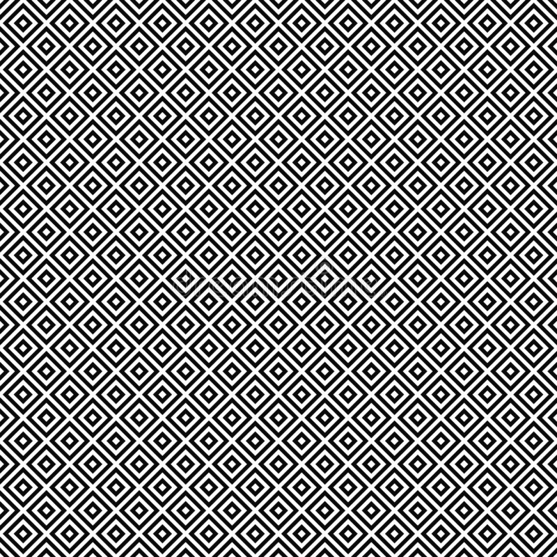 Vector seamless geometric pattern. Rhombuses texture. Black-and-white background. Monochrome design. stock illustration