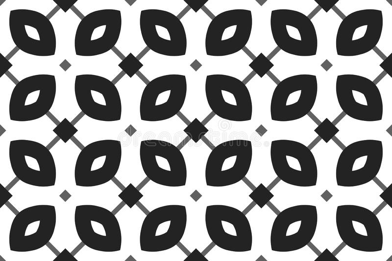 Vector seamless geometric pattern. Shaped black and grey squares and grey lines and black, white rounded diamonds, white vector illustration