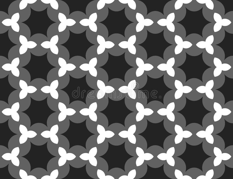 Vector seamless geometric pattern. Shaped black and white stars, grey background royalty free illustration