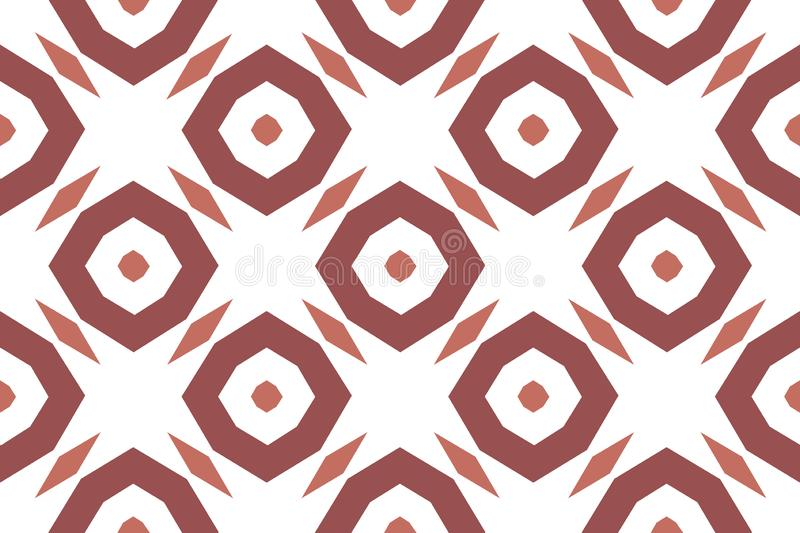 Vector seamless geometric pattern. Shaped brown octagonals, diamonds on white background stock illustration