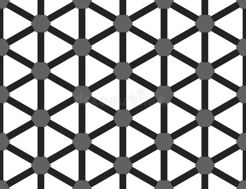 Vector seamless geometric pattern. Shaped grey hexagons and black lines, white background royalty free illustration