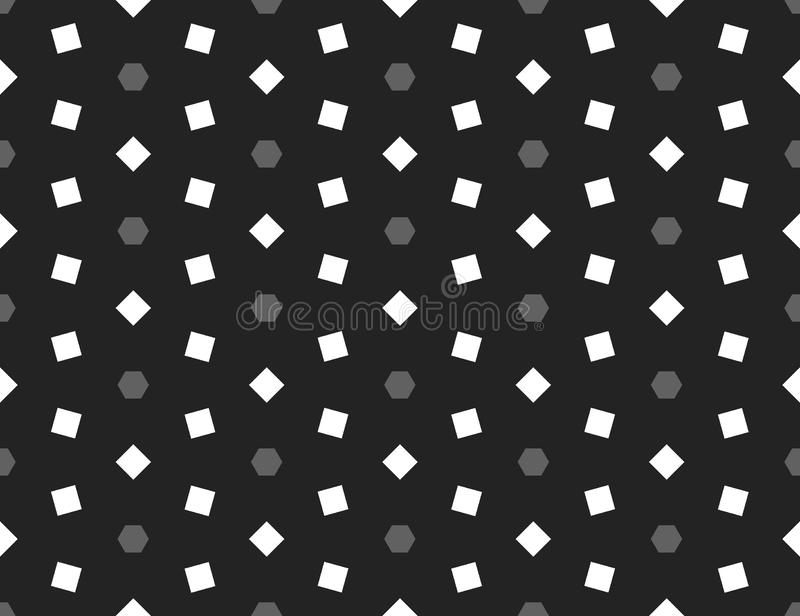 Vector seamless geometric pattern. Shaped grey hexagons and white square, black background stock illustration