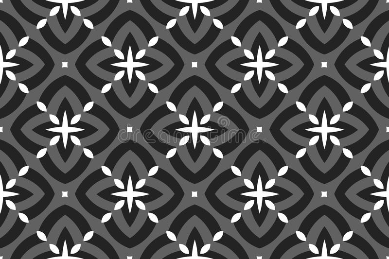 Vector seamless geometric pattern. Shaped rounded white, grey and black diamonds and stars, squares vector illustration