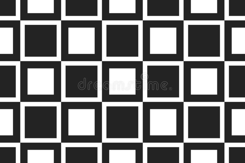 Vector seamless geometric pattern. Shaped sqaures in white, black colors stock illustration