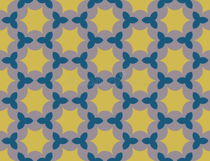 Vector seamless geometric pattern. Shaped yellow and blue stars, purple background. Vector seamless geometric pattern. Shaped yellow and blue stars on purple stock illustration
