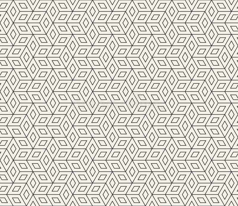 Vector seamless geometric pattern. Simple abstract thin lines lattice. Repeating rhombus shapes background tiling stock illustration