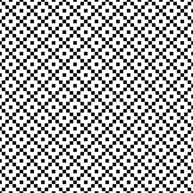 Vector seamless geometric pattern. Simple texture of squares. Black-and-white background. Monochrome design. Vector EPS 10 royalty free illustration